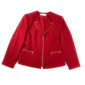 Tahari ASL Lainey Cherry Red Blazer Jacket NWT 16